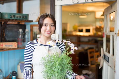 お花の鉢を持っている女性の素材 [FYI01078585]