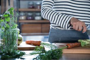 キッチンで野菜を切っている女性の手元の素材 [FYI01078607]