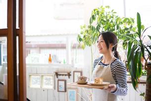 カフェで働いている女性の素材 [FYI01078705]