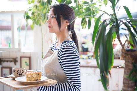 カフェで働いている女性の素材 [FYI01078727]