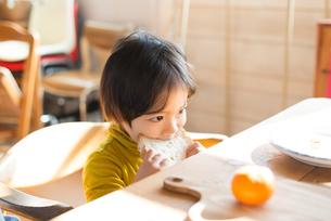 朝食を食べている男の子の素材 [FYI01078738]