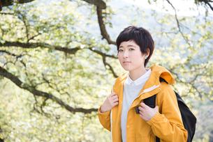 木をバックにこちらを見る女性の素材 [FYI01078859]