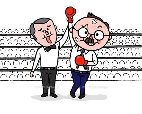 ボクシングで、打たれながらも勝利のシニアサラリ−マンの素材 [FYI01087457]