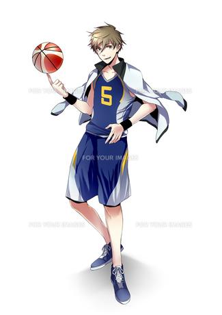 バスケットボールを回す男子学生の素材 [FYI01095827]