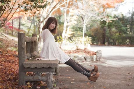 秋の紅葉した公園のベンチで座っている女性の素材 [FYI01096569]