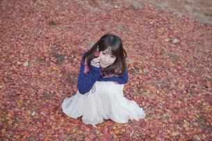 秋の紅葉の落ちの上に座る笑顔の女性の素材 [FYI01096581]