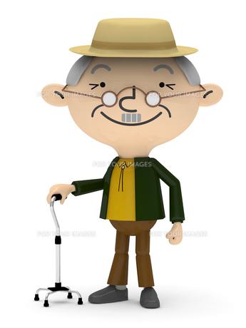 リハビリ杖で歩行訓練・お散歩をするシニア男性の素材 [FYI01096630]