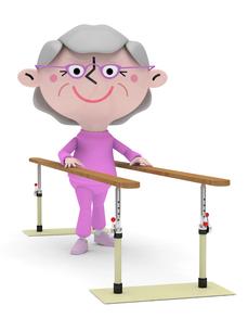リハビリ平行棒で歩行訓練をするシニア女性の素材 [FYI01096639]