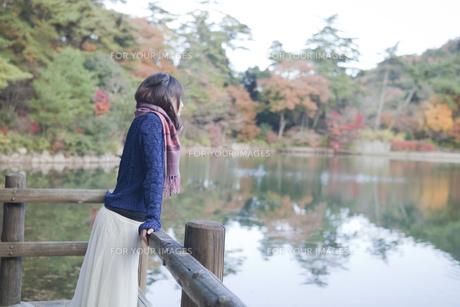 秋の紅葉の公園の池のほとりで池を見つめる女性の素材 [FYI01096668]