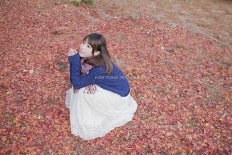 秋の紅葉の落ちの上に座る笑顔の女性の素材 [FYI01096670]