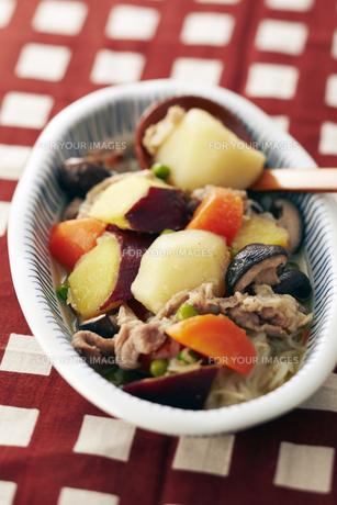 ジャガイモとサツマイモの肉じゃがの素材 [FYI01110035]