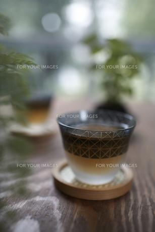 テーブルの上のお茶とグリーンの素材 [FYI01114977]