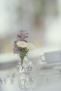 ガラスの花瓶にいけられた白いミニバラやライラックの素材 [FYI01119789]
