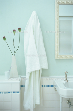 バスルームの壁にかかったバスローブの素材 [FYI01120187]