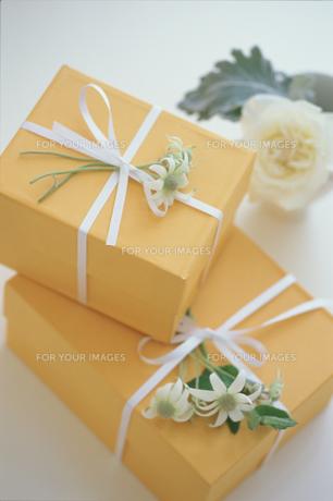 花を添えたオレンジ色のギフトボックスの素材 [FYI01120985]