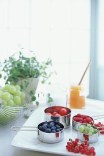 テーブルの上のベリー類とブドウの素材 [FYI01121221]