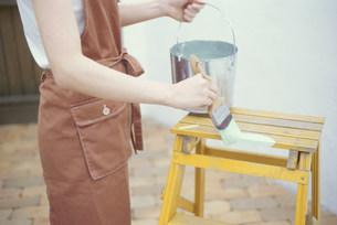 脚立にミント色のペンキを塗る女性の素材 [FYI01122191]