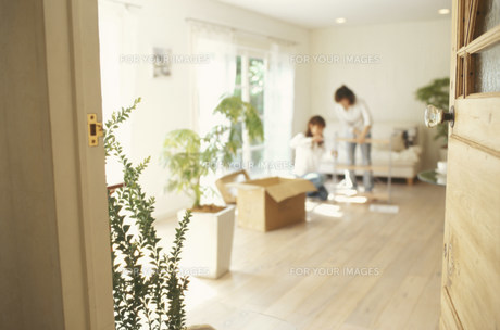 ドア越しに棚を組み立てる女性2人の素材 [FYI01122398]