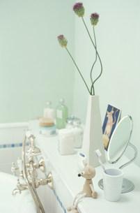 バスタブ近くに置かれた花と小物類の素材 [FYI01122871]