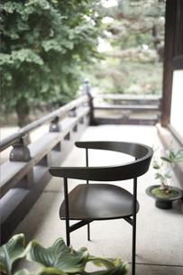 お寺の廊下に置いたイスと観葉植物の素材 [FYI01128575]