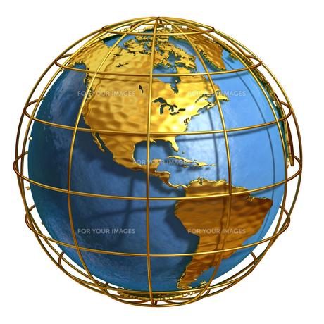 ゴールド地球アメリカの素材 [FYI01129405]