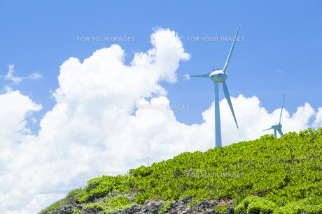 風力発電と入道雲の素材 [FYI01131808]