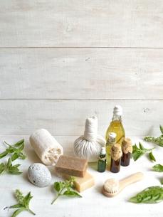 バジルリーフとアロマテラピー用品 白木材背景の写真素材 [FYI01132149]