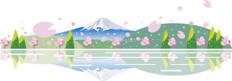 地平線の桜と富士山のイラスト素材 [FYI01132359]