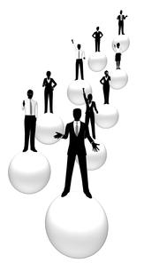シルエット人物のビジネスイメージと球体の素材 [FYI01135837]