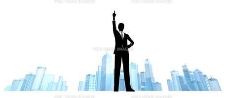 シルエット人物のビジネスイメージとビルの素材 [FYI01135839]