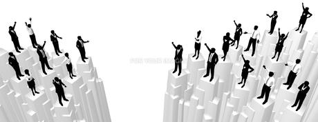 シルエット人物のビジネスイメージと崖の素材 [FYI01135860]