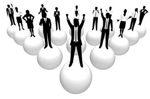 シルエット人物のビジネスイメージと球体の素材 [FYI01135885]