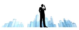 シルエット人物のビジネスイメージとビルの素材 [FYI01135892]