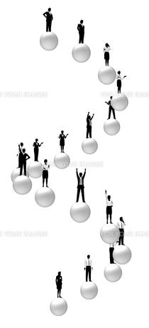 シルエット人物のビジネスイメージと球体の素材 [FYI01135924]