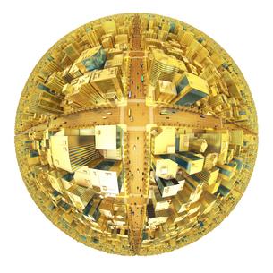 ビルの街、金の素材 [FYI01136601]
