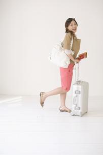 スーツケースとパスポートを持った女性の素材 [FYI01140112]