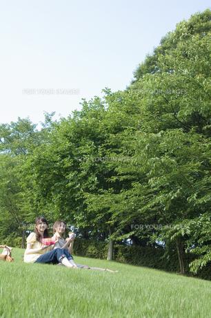 草原でピクニックをする女性2人の素材 [FYI01141636]