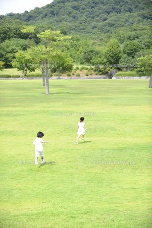 草原を走る子供達の後ろ姿の素材 [FYI01143525]