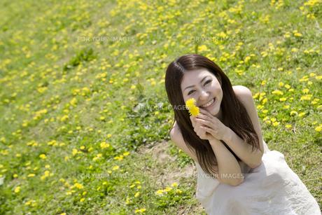 タンポポを持った笑顔の女性の素材 [FYI01143621]