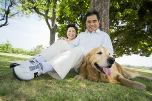 芝生に座るシニア夫婦と犬の素材 [FYI01143723]