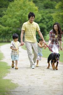 犬と散歩をする家族の素材 [FYI01143981]