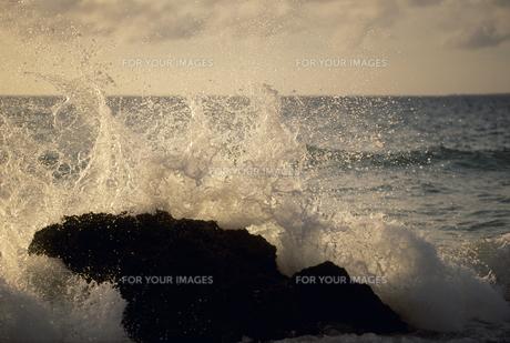 岩に砕ける波の素材 [FYI01146240]