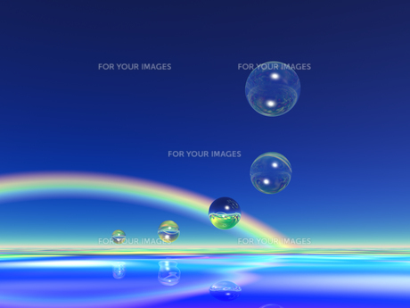水の球体と虹 CGの素材 [FYI01153873]