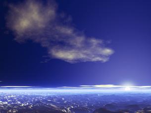 惑星の地形と空と夕暮れの素材 [FYI01153986]