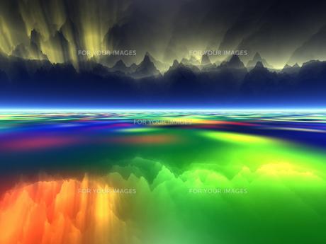 光輝く空と虹色の海 CGの素材 [FYI01154057]