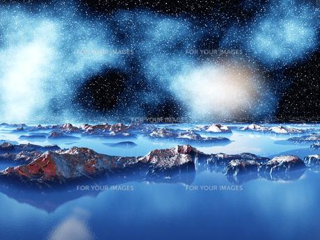 青い宇宙湖と銀河の素材 [FYI01154157]