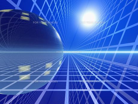 青い空間に球体の素材 [FYI01156416]