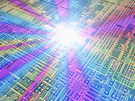 基盤にカラフルな光の集中の素材 [FYI01156528]
