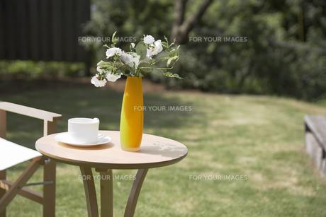 庭に置いた花瓶と花の素材 [FYI01156864]