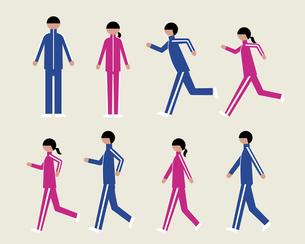 ジャージの男女(歩く・走る)の素材 [FYI01156900]